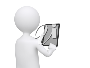 Royalty Free Clipart Image of a Figure Holding a Blank Tablet
