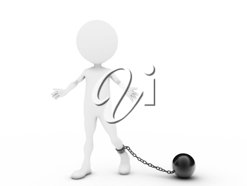 Royalty Free Clipart Image of a Person With a Ball and Chain