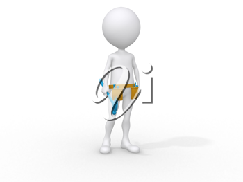 Royalty Free Clipart Image of a Person with a Tool Belt