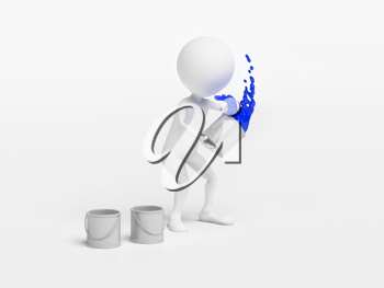 Royalty Free Clipart Image of a Figure Throwing a Bucket of Paint