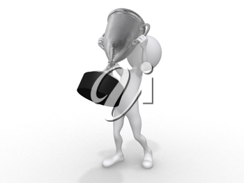 Royalty Free Clipart Image of a Figure With a Silver Trophy