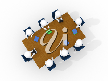 Royalty Free Clipart Image of Figures Sitting at a Boardroom Table