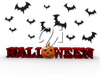 Royalty Free Clipart Image of Halloween Letters With Pumpkin and Bats