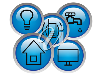 Royalty Free Clipart Image of a Collection of Monthly Utilities Buttons