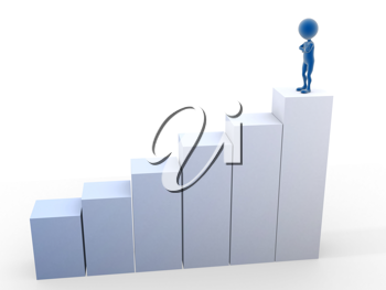 Royalty Free Clipart Image of a Person at the Top of a Bar Graph