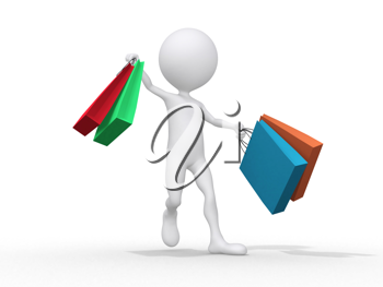 Royalty Free Clipart Image of a Figure Shopping
