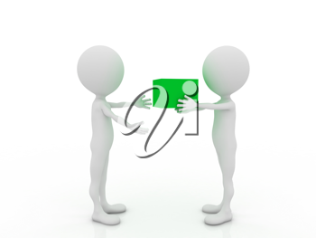 Royalty Free Clipart Image of a Person Handing Something to Someone