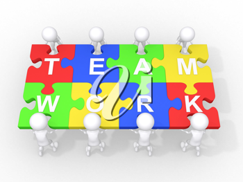 Royalty Free Clipart Image of a Team of Figures Putting Together a Puzzle