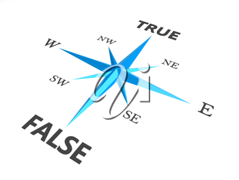 Royalty Free Clipart Image of a True and False Compass