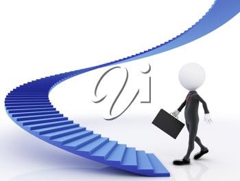 Royalty Free Clipart Image of Blue Stairs and a Man at the Bottom