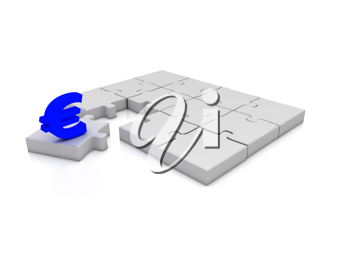 The missing piece is finance euro sign white jigsaw puzzle