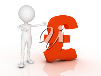 3D man leaning on a pound sign isolated over a white background