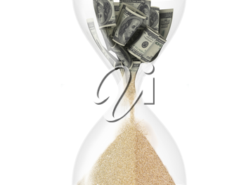 hourglass with dollar inside (time is money concept)