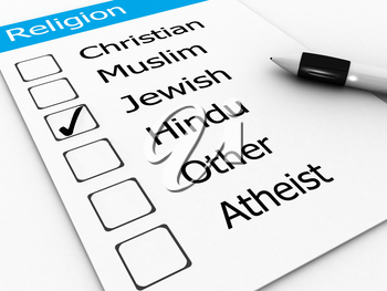 Royalty Free Clipart Image of Religions With Jewish Checked Off