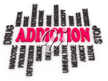 Royalty Free Clipart Image of an Addiction Word Cloud