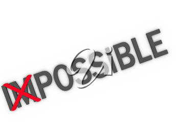 Royalty Free Clipart Image of Changing the Word Impossible to Possible