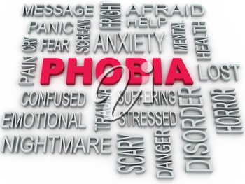 3d Phobia symbol conceptual design isolated on white. Anxiety disorder concept