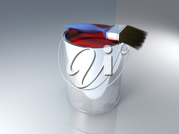 Bucket of red paint with a brush
