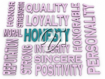 3d imagen Honesty concept in word tag cloud on white background