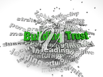 3d imagen Building Trust concept in word tag cloud on white background