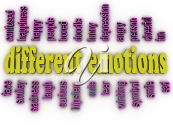 3d image different emotions concept word cloud background