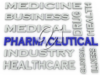 3d image Pharmaceutical industry  issues concept word cloud background