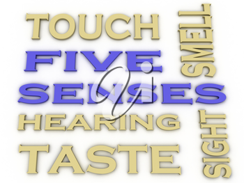 3d image Five senses  issues concept word cloud background