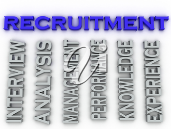 3d image recruitment issues concept word cloud background