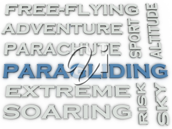 3d image Paragliding  issues concept word cloud background