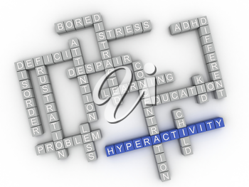 3d image Hyperactivity  issues concept word cloud background