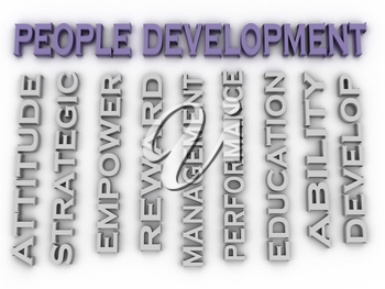 3d image People development   issues concept word cloud background