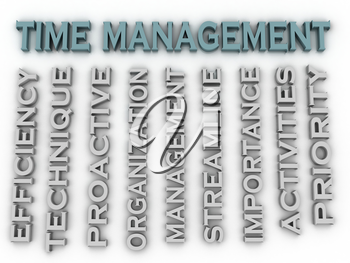 3d image Time management issues concept word cloud background