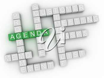 3d image Agenda issues concept word cloud background