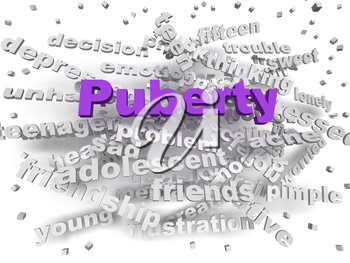 3d image Puberty word cloud concept