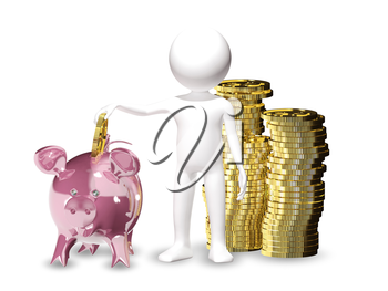 3d illustration of a man with piggy bank