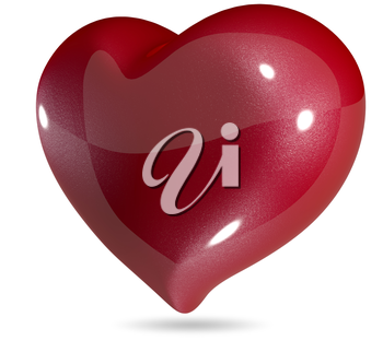 3d illustration symbolic red heart on a white background