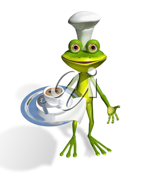 Royalty Free Clipart Image of a Frog Holding a Tray