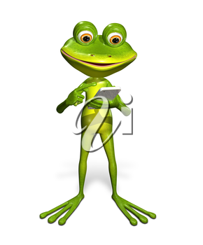 Royalty Free Clipart Image of a Frog Holding a Cellphone