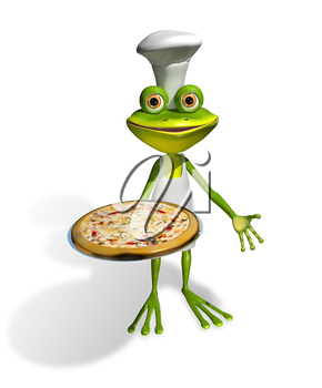 Royalty Free Clipart Image of a Frog Holding a Pizza