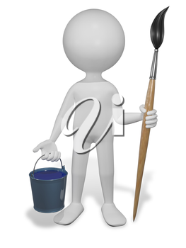 Royalty Free Clipart Image of a Person Holding a Paint Brush