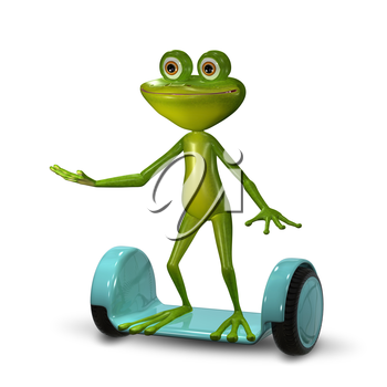 3d Illustration  Green Frog on the Gyro Scooter