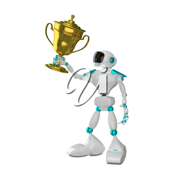 3D Illustration White Robot with Cup on a White Background