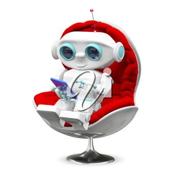 Illustration Little Robot In the Armchair on a White Background
