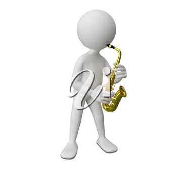3D Illustration of Abstract Man with Saxophone on a White Background
