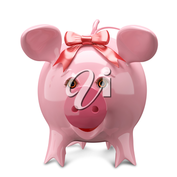 3D Illustration Pink Pig with a Bow on White Background