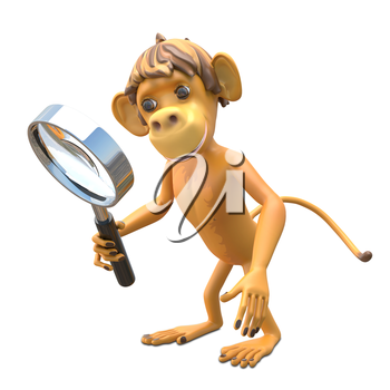 3D Illustration Monkey with Magnifier on White Background