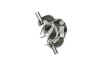 3d illustration Metallic Chrome Plated Industrial Part
