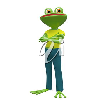 3D Stock Illustration Frog in Yellow T-shirt on a White Background