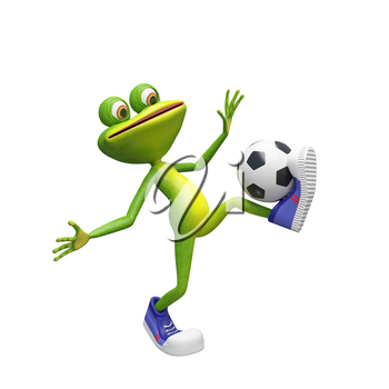 3D Illustration of a Frog with a Soccer Ball on a White Background
