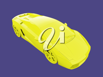 Royalty Free Clipart Image of a Yellow Car